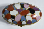 Made in Italy Porcelain Hinged Oval Box Hand Painted Easter Eggs in Basket Motif