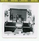 Vintage 1950s photo Pretty Girl Holds Her BIRTHDAY CAKE Next to Upright Piano