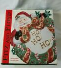 Fitz and Floyd Santa With Wreath Canape Cookie Plate Wall Plaque Hand Crafted