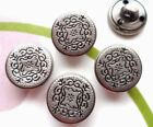 20pcs Button Alloy Silver Black Round Vintage carved Design Sewing Jeans 15mm