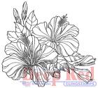 Deep Red Rubber Cling Stamp Hibiscus Blooms Garden Flower Botanical