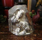 Primitive Antique Vtg Easter Bunny Rabbit Chocolate Candy Mold Metal Tin