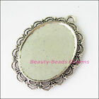 1Pc Antiqued Silver Tone Flower Round Picture Frame Charms Pendants 41x51mm
