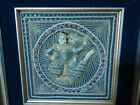 Vintage Thailand Handmade Embossed Embroidery on Board Matted and Framed