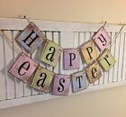 Happy Easter Spring Banner Bunting Sign Retro Shabby Chic Cottage Chic Barn Sidi