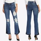 TheMogan Womens Vintage Cutoff Distressed Ripped Mid Rise Cropped Flare Jeans