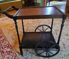 Antique Rolling English Mahogany Wood Tea Cart Serving Table, C. 1920