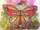 10 Punch Studio RAINBOW BUTTERFLY NOTECARDS Die Cut Embellished GORGEOUS