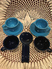 Peacock & Cobalt Blue Fiesta Ware Pieces Made In USA, Lead Free