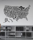 United States USA 50 States Map Wall Decal by Stickerbrand #1275