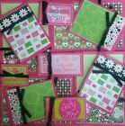 Premade Scrapbook Page Embellishment Kit SEWN 12 pieces Girlie Girl
