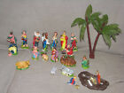 VINTAGE 16 PIECE CELLULOID NATIVITY SET MARY JOSEPH BABY JESUS ANGEL ANIMALS
