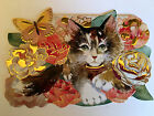 10 Punch Studio KITTY CAT IN ROSES NOTECARDS Die Cut Embellished GORGEOUS