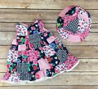 Made With Love by Place Dress 2pc Pink Blue Floral Check Lace Ruffled 0 3 months