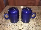 FIESTA WARE LARGE COBALT BLUE SET OF SALT AND PEPPER SHAKERS VERY GOOD CONDITION