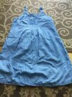 April Cornell Sleeveless Nightgown Blue Embroidered Small