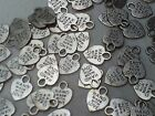 Hand Made with Love Heart Charms Pk of 70 Pieces Nickel Color Crafts Supply