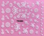Nail Art 3D Decal Stickers White Butterflies Heart Ribbon  Flowers YG363 XF192