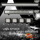 42Inch LED Light Bar Combo + 20in +4 CREE PODS OFFROAD SUV 4WD ATV FORD JEEP 40
