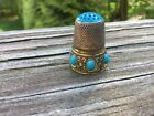 Antique Stunning Sterling Silver Art Deco Turquoise? Sewing Thimble Hallmark 7