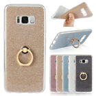 For Samsung Galaxy Glitter Gradient Stand Ring Soft Silicone TPU Back Cover Case