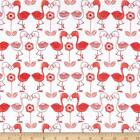 Fabric Flamingo Kisses Pink on White Flannel 1 Yard