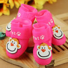 Dog Cat Rain Shoes Puppy Waterproof Boots Anti Slip Protective Chihuahua Pink S