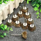 10Pcs 3mm Shank Brass Wire Brush Bowl Wheel Brush for Die Grinder Rotary Tools