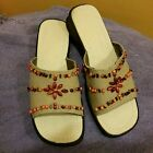 Avon NWT Beaded Canvas Sandals Size 9 Never Worn Tags on bottom Beige Tan