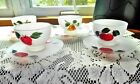 FEDERAL GLASS Hand Painted Fruits Frosted Glassware 4 Sherbets With Saucers