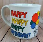 Sandra Boynton Coffee Mug Happy Birthday Tea Cup Funny Kitty Cat Ballons Vtg Euc