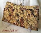Vintage 1940s Lewis Metallic Gold Tapestry Clutch Excellent Condition