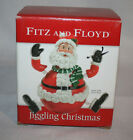 New Fitz & Floyd Jiggling Christmas Santa With Green Scarf
