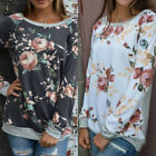 Fashion Floral Womens Long Sleeve Shirt Casual Blouse Loose Cotton Tops T Shirt