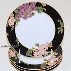 Fitz & Floyd Cloisonne Peony Black * 4 BREAD & BUTTER PLATES * Excellent!