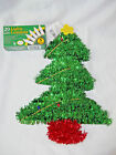 Christmas Tree and Lights Tinsel Green with Gold Star Window Hanger 15