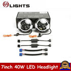 2X 740W LED Halo Angel Eyes Headlight Round Lamp For Jeep Wrangler JK TJ Hl Lo
