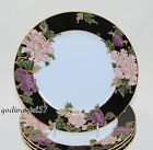 Fitz & Floyd Cloisonne Peony * 4 DINNER PLATES * Black, Flowers, Excellent!