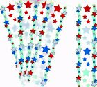 HAMBLY Lot of Vintage Metallic RED WHITE BLUE STARS Border Stickers 5 Strips