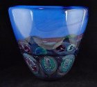 Michael Pavlik Large Studio Art Glass Decorative Blue Glass Vase