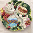 Fitz and Floyd Essentials Kristmas Kitty and Ornaments Canape / Wall Plate