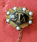 SIGMA TAU ALPHA PIN WITH GOLD AND PEARLS AND ATTACHED ZETA PIN