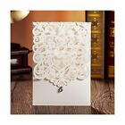 Wishmade 50pcs Vertical Ivory Laser Cut Wedding Invitations Cards with Rhines