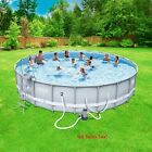 Swimming Pool Set w Filter Pump Above Ground 22 x 52 Ladder Cover Steel Frame