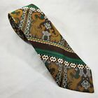 MINT VINTAGE 70s Unbranded Mens Tie Yellow Green Brown Polyester 56 x 3