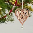 2017 Hallmark Our First Christmas Heart Ornament  Rose Gold Look  Couples Love