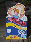 FLURRY FUN Slinky Paper Toy NOS Original STORE DISPLAY Sign c.1981 Lincoln, NE