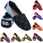NFL Football Team Logo Stripe Womens Slip On Canvas Shoes Choose Team