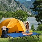 Folding Camping Bed Outdoor Travel Sleeping Military Cot Hiking 2 Person Blue