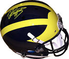 Jabrill Peppers signed Michigan Schutt Rep Full Size Helmet yellow sig on top